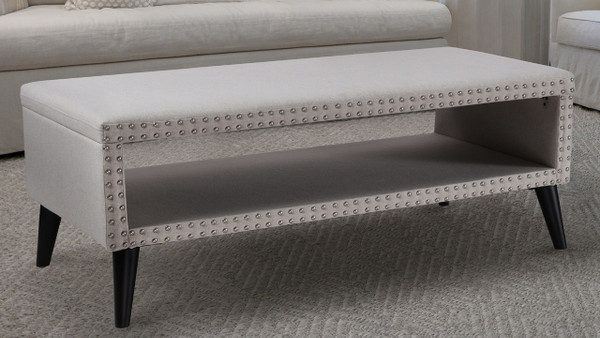Lorenzo Decorative Cocktail Ottoman Nailhead Accents, Bone White