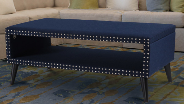 Lorenzo Decorative Cocktail Ottoman Nailhead Accents, Midnight Blue