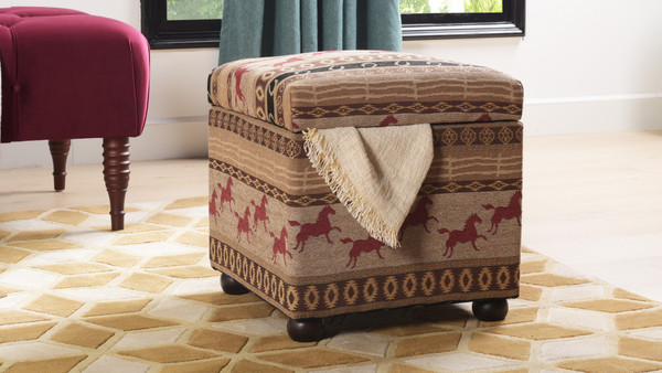 Equestrian Upholstered Storage Ottoman, Multicolored