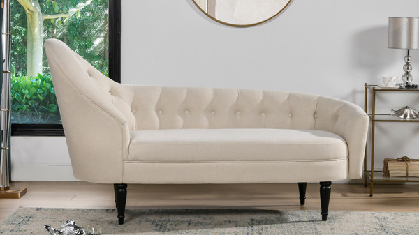 Kayleigh Tufted Chaise Lounge, Sky Neutral