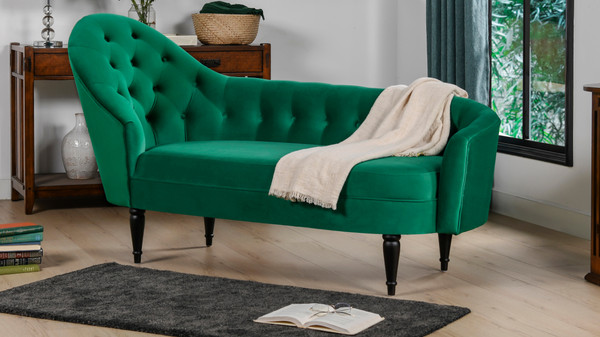 Kayleigh Tufted Chaise Lounge, Ultramarine Green