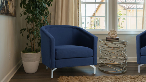 Annette Cabriole Arm Chair, Midnight Blue