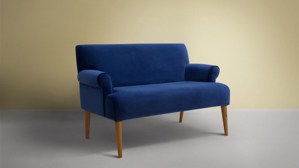 Callie Roll Arm Settee, Navy Blue