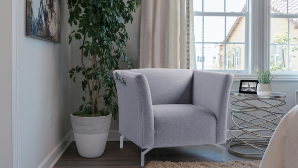 Camilla Mid-Century Modern Chair, Light Grey