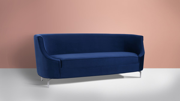 Harper Upholstered Sofa, Navy Blue