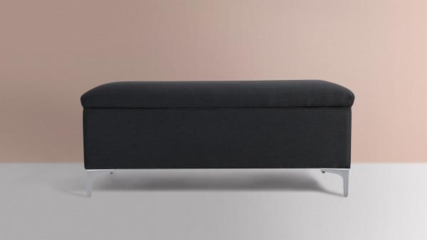 "Madelyn 49"" Modern Storage Bench, Dark Grey"