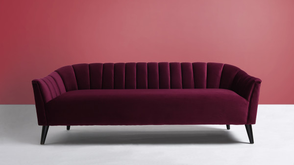 Sienna Channel Tufted Sofa, Burgundy