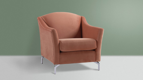 Vincent Camelback Arm Chair, Peach Orange