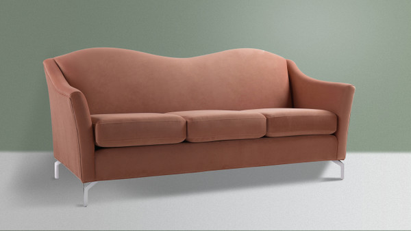 Vincent Camelback Sofa, Peach Orange