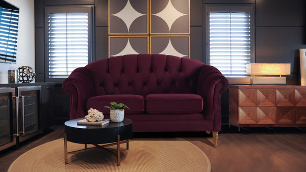Bernadette Tufted Loveseat, Burgundy