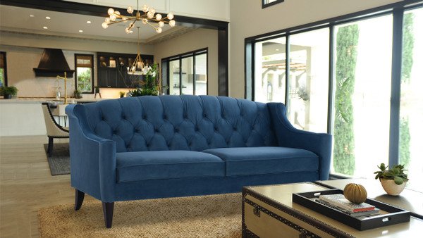 Ken Upholstered Button Tufted Sofa, Satin Teal