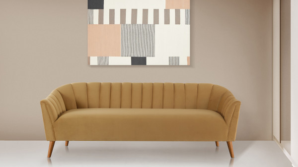 Sienna Channel Tufted Sofa, Gold