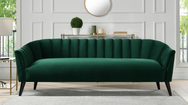 Sienna Channel Tufted Sofa, Evergreen