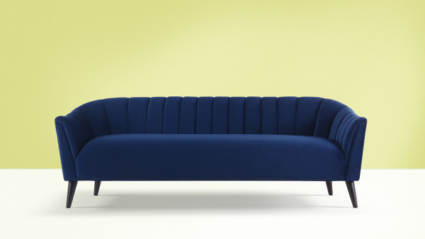 Sienna Channel Tufted Sofa, Navy Blue