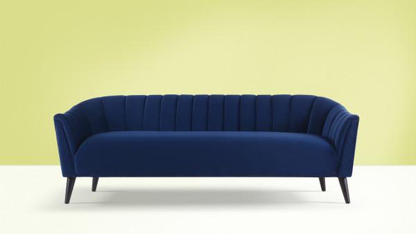 Sienna Channel Tufted Sofa, Navy Blue
