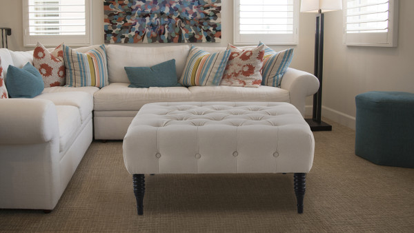 Hollis Cocktail Ottoman, Sky Neutral