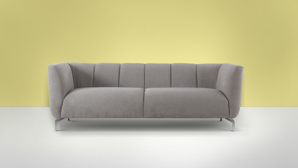 Abella Modern Contemporary Sofa, Silver Grey