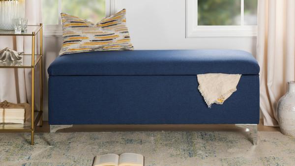 Serina Flip Top Storage Bench, Dark Sapphire Blue