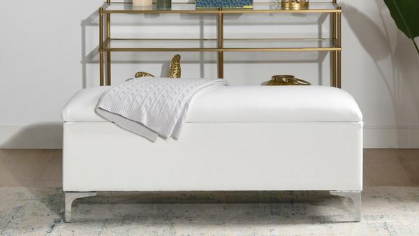 "Madelyn 49"" Modern Storage Bench, Bright White"