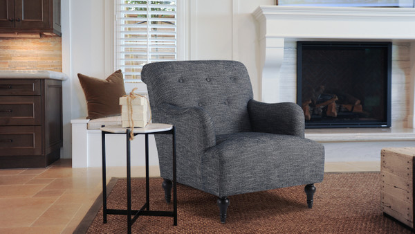 Makena Tufted Recessed Arm Accent Chair, Ash Grey