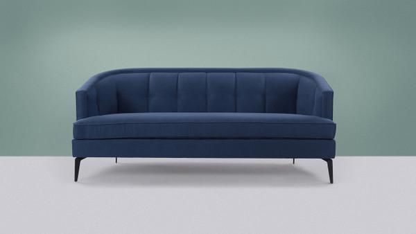 Isabella Mid-Century Contemporary Sofa, Dark Sapphire Blue