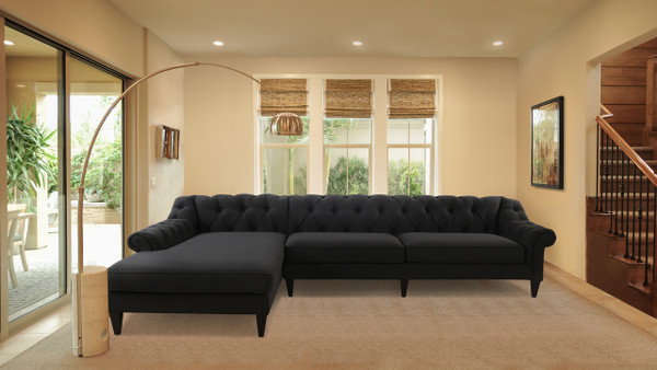 Alexandra Tufted Left Sectional Sofa, Jet Black