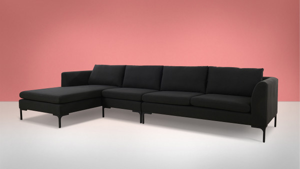 Weylyn LAF Chaise Sectional Sofa, Jet Black