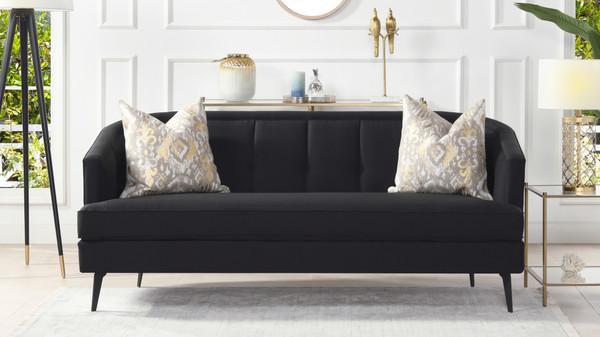 Isabella Mid-Century Contemporary Sofa, Jet Black