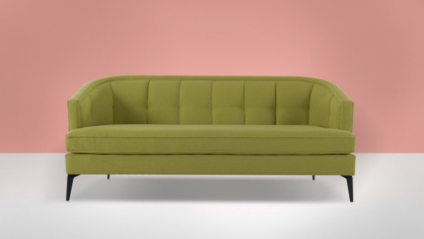 Isabella Mid-Century Contemporary Sofa, Moss Green