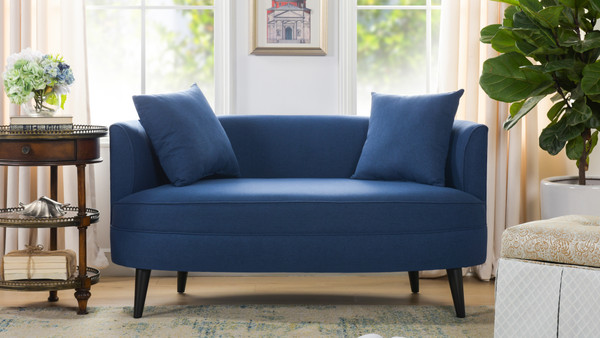 Leon Settee with Throw Pillows, Dark Sapphire Blue