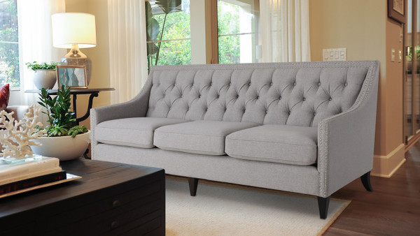 Marianne Tufted Sofa Nailhead Accents, Light Grey