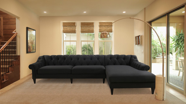 Alexandra Tufted Right Sectional Sofa, Jet Black