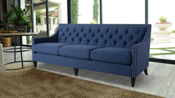 Marianne Tufted Sofa Nailhead Accents, Dark Sapphire Blue