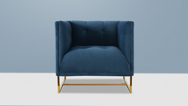 Royce Accent Chair, Satin Teal