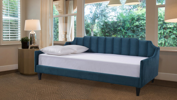Edgar Channel Tufted Sofa Bed Daybed, Satin Teal