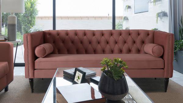 Diane Button Tufted Tuxedo Sofa, Ash Rose