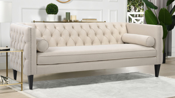 Diane Button Tufted Tuxedo Sofa, Sky Neutral