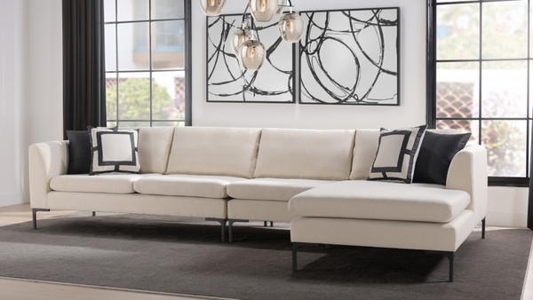 Weylyn RAF Chaise Sectional Sofa, Sky Neutral
