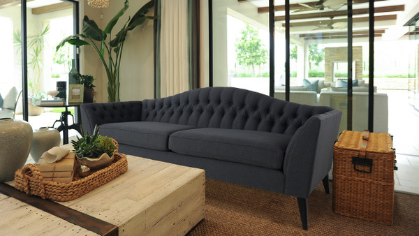 Ramsey Camelback Sofa, Dark Grey