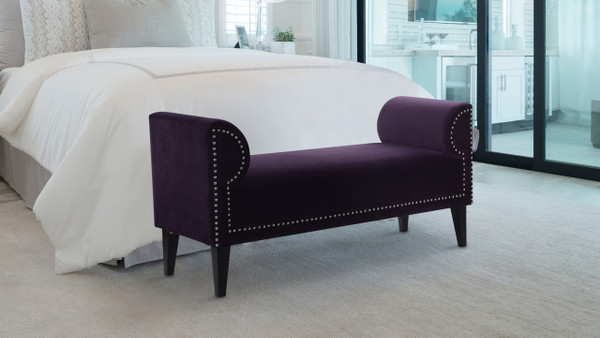 Paloma Roll Arm Upholstered Bench, Purple