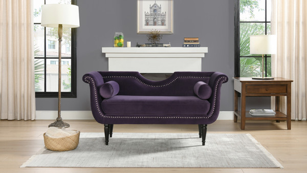 """Luna 59"""" Velvet Glam Settee with Bolster Pillows, Purple Velvet"""