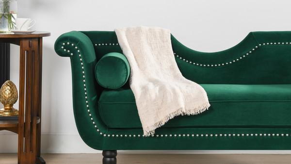 """Luna 59"""" Velvet Glam Settee with Bolster Pillows, Evergreen Velvet"""