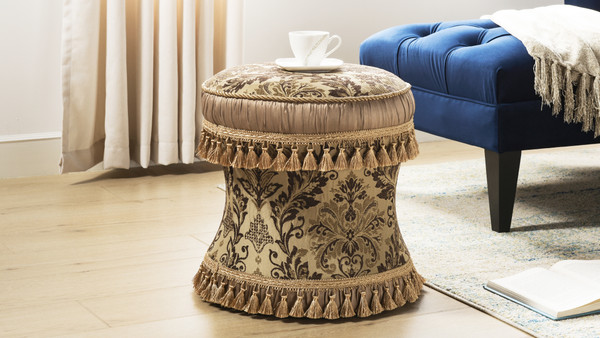 Leona Decorative Vanity Stool,  Brown