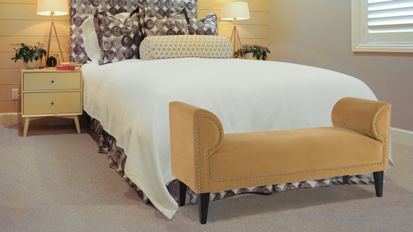 Paloma Roll Arm Upholstered Bench, Gold