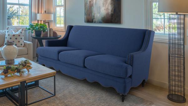 Marisole Recessed Sofa, Dark Sapphire Blue