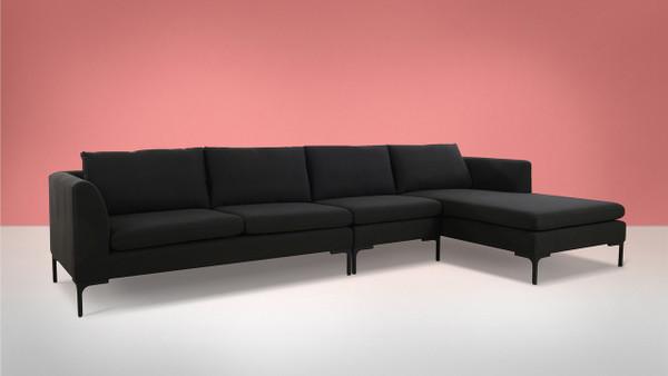 Weylyn RAF Chaise Sectional Sofa, Jet Black