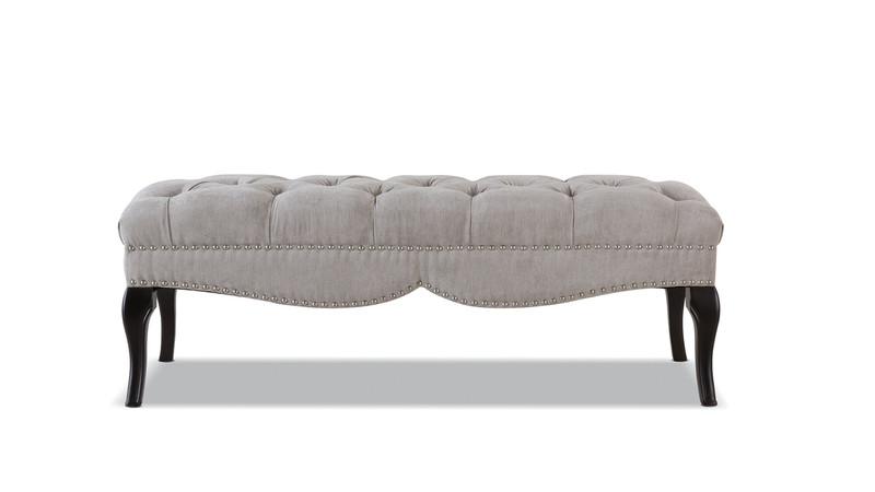 Camari Upholstered Bench, Silver Grey