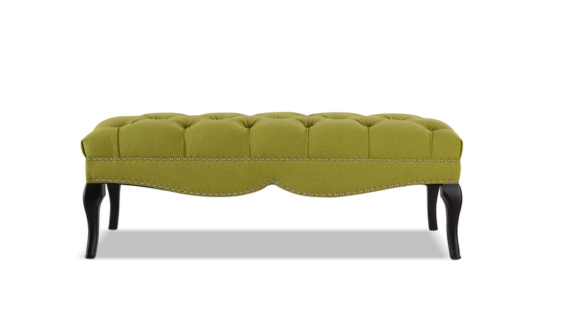 Camari Upholstered Bench, Moss Green