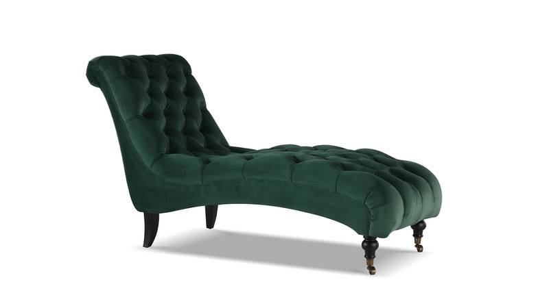 Angelica Tufted Chaise Lounge, Hunter Green