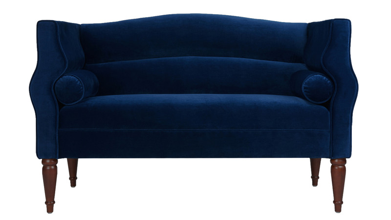 Joanna Camel Back Uptown Loveseat, Navy Blue